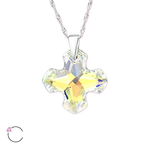 Ab Swarovski Crystal Cross Necklace - Atik Jewelry Silver Cross Necklace With Swarovski Crystal - AB