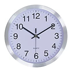 JustNile Minimalist Round 12-inch Wall Clock - Modern Colorful Decorative Sweep Silent Non-Ticking Movement - Simple Silver Frame
