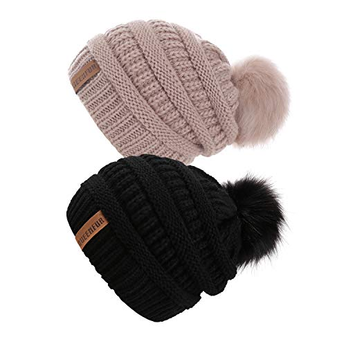 (QUEENFUR Women Knit Slouchy Beanie Chunky Baggy Hat with Faux Fur Pompom Winter Soft Warm Ski Cap (Black/Rose Pink 2Pcs))