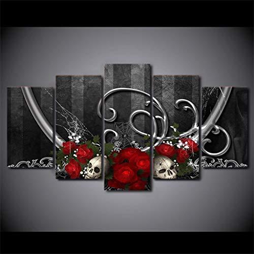 Red Rose White Skull Black Background Sugar Skull Canvas Prints Wall Art (Artwork05, 22''x 40'' Unframed(8''x14''x2 8''x18 x2 ()