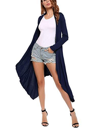 Fit Manica Size scuro Moda Slim Elegante Di di A Monocromo Lunghi Moda Maglia Pullover Donna Maglioni marca Color Irregular Autunno Cappotto Cardigan L Lunga Moda Blu Mode Giovane H7xOnP4w