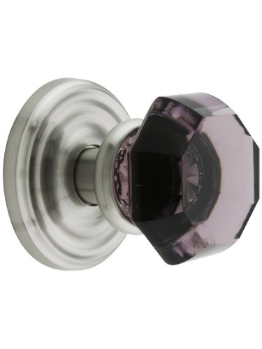 Amethyst Rosette - Classic Rosette Set With Amethyst Crystal Door Knobs Dummy Satin Nickel. Old Door Knobs.