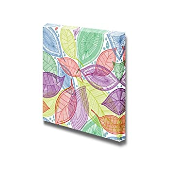Canvas Prints Wall Art - Seamless Abstract Color Leaves | Modern Wall Decor/Home Art Gallery Wraps Giclee Print & Wood Framed. Ready to Hang - 12