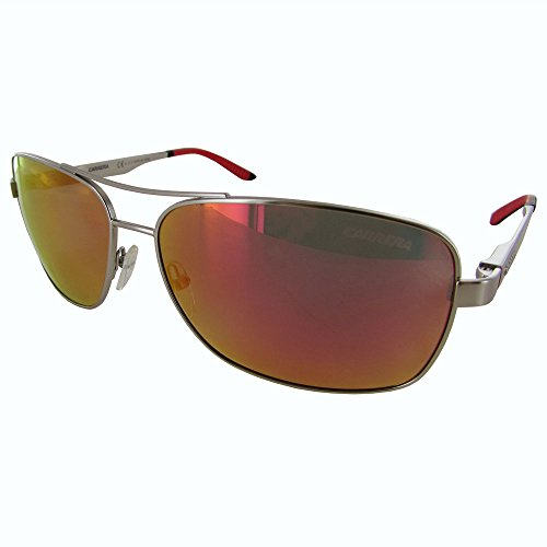 Carrera Men's CA8014S Polarized Rectangular Sunglasses, Matte Palladium & Red, 61 mm ()