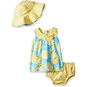 Gerber Baby Girls 3 Piece Dress Set, Pineapple, 0-3 Months
