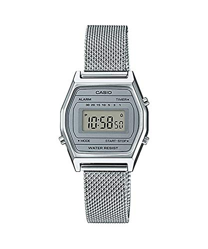 (Casio LA690WEM-7 Women's Vintage Youth Silver Mesh Band Alarm Chronograph Digital Watch)