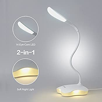 LEDemain Reading Desk Lamp 2 in 1 Book Light with 14 Eye-Care LEDs 3 Level Dimmable with Touch Control Flexible USB Rechargeable Bedside Bedroom Table Lamp for Kids Children