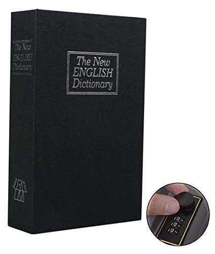 Hidden Bank - Book Safe with Combination Lock, Ohuhu Dictionary Diversion Book Safe, Portable Safe Box, Great for Storing Money, Jewelry, Gun and Passport