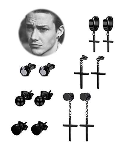 REVOLIA 6 Pairs Stainless Steel Dangle Cross Stud Earrings for Men Women Hoop Earrings Huggie Vintage Ear Piercing Black