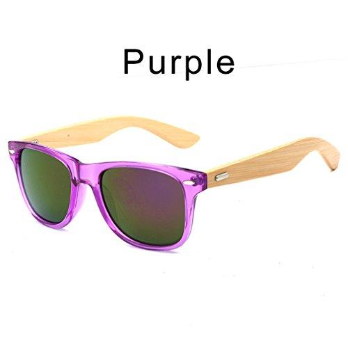 bois de en lunettes étui lunettes hommes soleil bambou lunettes de femmes Rétro avec Haoling Purple soleil unisexe YT1x5w7