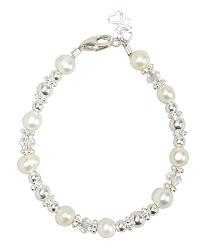 Elegant White Cultured Fresh Water Pearls and Swarovski Crystals with Sterling Silver Beads Luxury Keepsake Baby Girl Bracelet Gift (BFWSC_S)