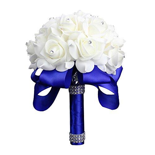 Bridesmaid Wedding Bouquet (StillCool Still Royal-blue Crystal Pearl Silk Roses Bridal Bridesmaid Wedding Bouquet (18cm24cm,)