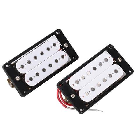 Pastillas Humbucker Blanco Conjunto Anillos con Negro Para La Guitarra Electrica: Amazon.es: Instrumentos musicales