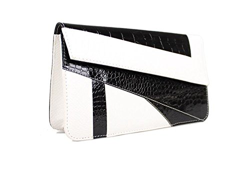 Flowertree® Women's Snakeskin Embossed Leather Flap Clutch Handbag Black+white (Embossed Leather Snakeskin)