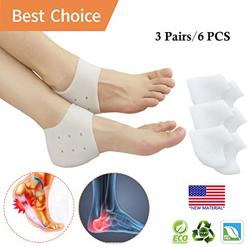 Heel Cups, Plantar Fasciitis Inserts, Heel Pads Cushion (3 Pairs) Great for Heel Pain, Heal Dry Cracked Heels, Achilles Tendinitis, for Men & Women. (Best Sandals For Achilles Tendonitis)