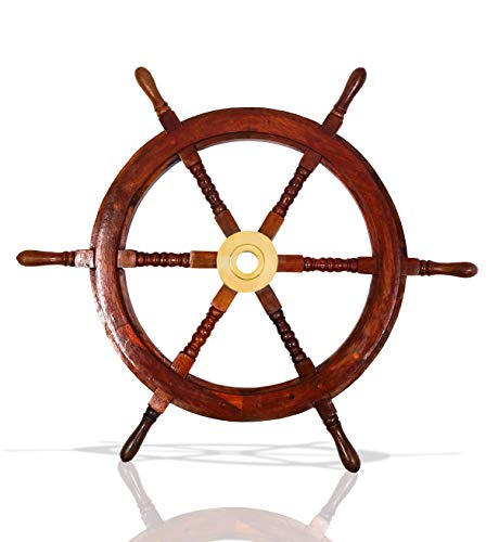 (Nautical Decor Sheesham Wood Decorative Ship Wheel with Brass Center Home Decoration Gifts (30