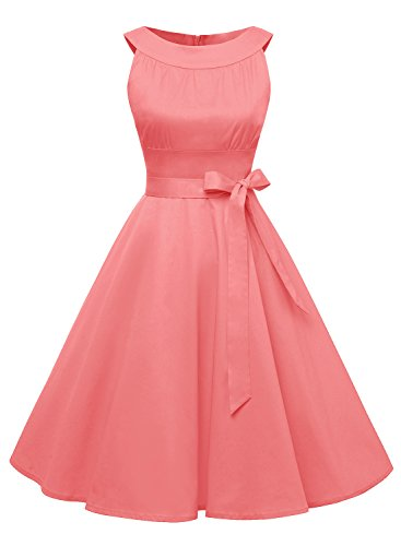 (Find Dress Women 1950s Scoop Vintage Retro Cocktail Rockabilly Swing Dress 10408 Red L)