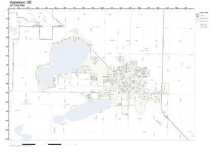 Amazon.com: ZIP Code Wall Map of Watertown, SD ZIP Code Map ...