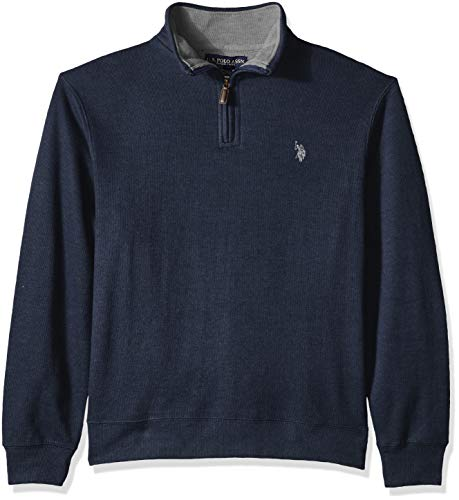 U.S. Polo Assn. Men's Quarter Zip Mock Neck Pullover, Navy Heather, XL