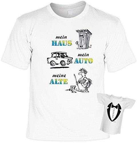 T-Shirt - Mein Haus - Mein Auto - Meine Alte - Geschenk Set Funshirt und Mini Shirt für Leute mit Humor