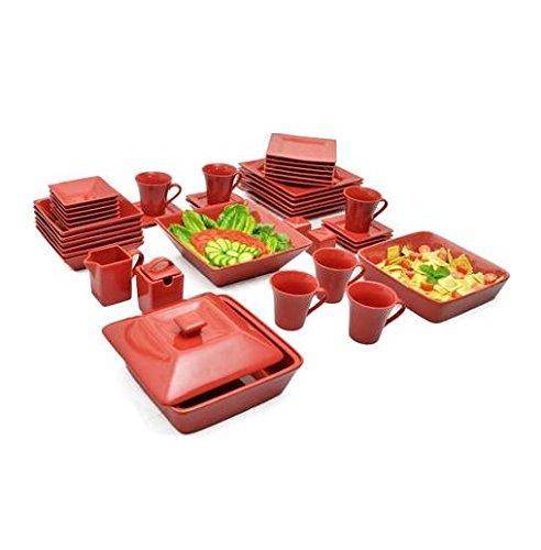 Nova 45 Piece Square Dish Set Red