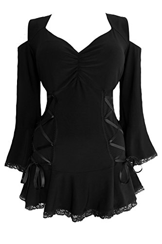 Dare to Wear Victorian Gothic Boho Plus Size Temptation Corset Top Black (Wench Renaissance Clothing)