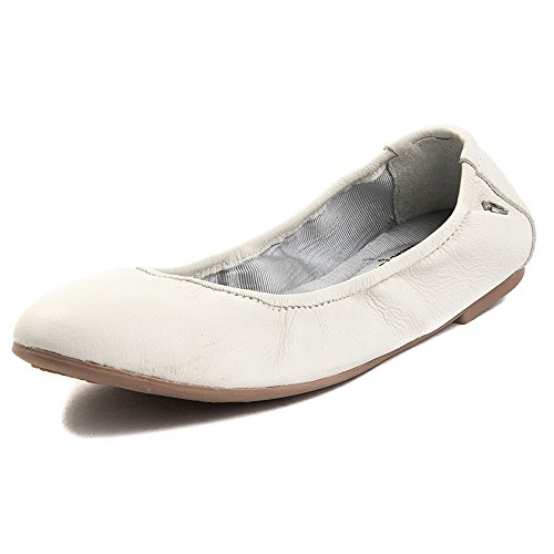 Minnetonka Women's Anna Ballerina Leather Ballet Flat, White, M 9 -
