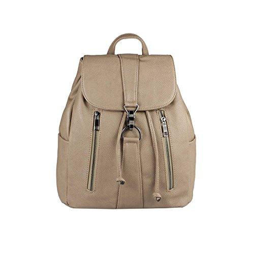 JJ Collection - Bolso mochila  para mujer marrón caqui 26x28x10 cm (BxHxT) Taupe 34x36x17 cm