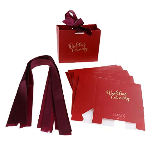 6pcs Wedding Candy Bag Ribbon Gift Candy Boxes Case Candy Wrappers Holder  Color - Wine Red S 
