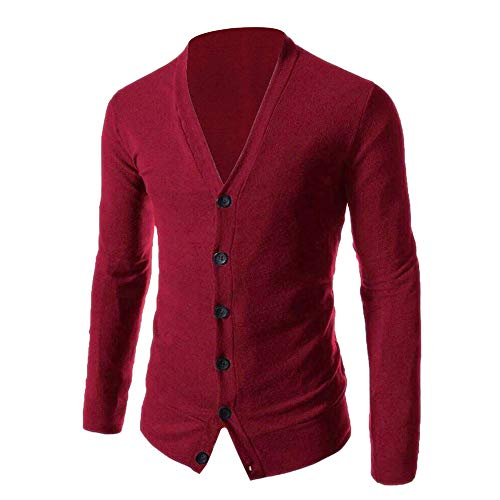 WOCACHI Mens Knitted Sweater Pullover Button Bottoming Shirt Cardigan V-Neck Top