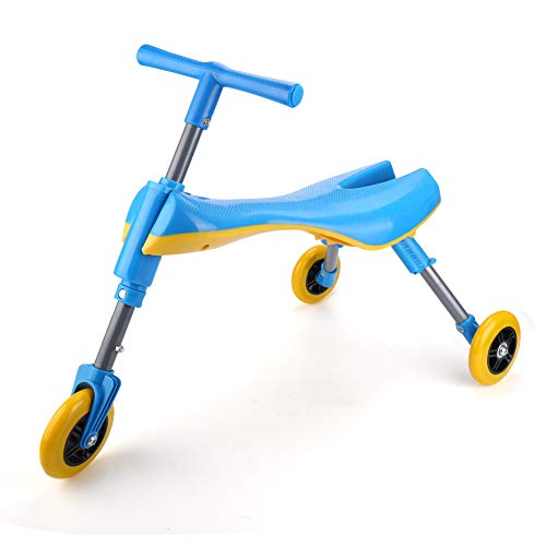 Freshday Toddlers Glide Tricycle for Indoor and Outdoor Use, Foldable Kids Fly Bike Trike Scooter, Non Scratch Wheels and No Assembly Required ()