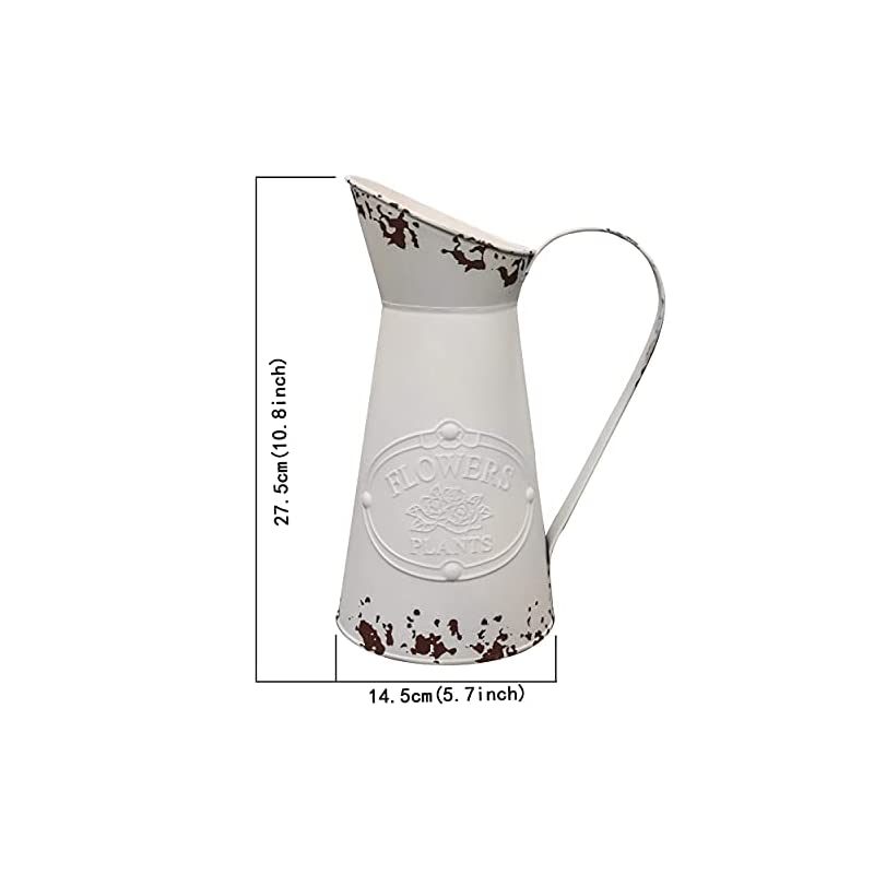 Soyizom Shabby Chic Pitcher Vases Metal Flower Vases White Farmhouse Decorative Vase Pitcher Galvanized Milk Jug Tall…
