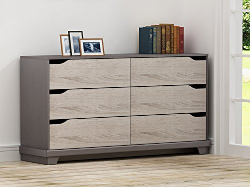 (HOMESTAR EB109184JS Waterloo 6 Drawer Dresser, 15.91 x 59.33 x 31.34, Java Brown/Sonoma)