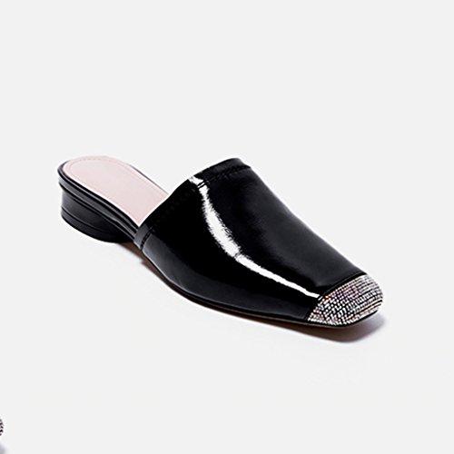 Pelle Con Basse Tacco Donna Slipper In Con Vintage Nero Strass Baotou Mueller Esterno Scarpe JIANXIN Da Oq4wHx5S7W