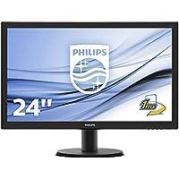 Philips V-line 243V5LHAB - cran LED - 23-6- - 1920 x 1080 FullHD - 250 cd-m2 - 1000-1 - 10000000-1 -dynamique- - 5 ms - HDMI- DVI-D- VGA - haut-parleurs - noir textur - ligne de contour noire