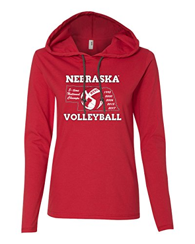 National Champions Tee (Women's Nebraska Huskers Volleyball 5-Time National Champions Long Sleeve Hooded Tee Shirt - Red - XL)