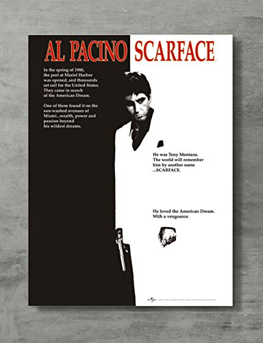 Scarface Poster - Scarface Movie Canvas Print al Pacino Tony Montana Wall Art Posters Print Standard Size 18