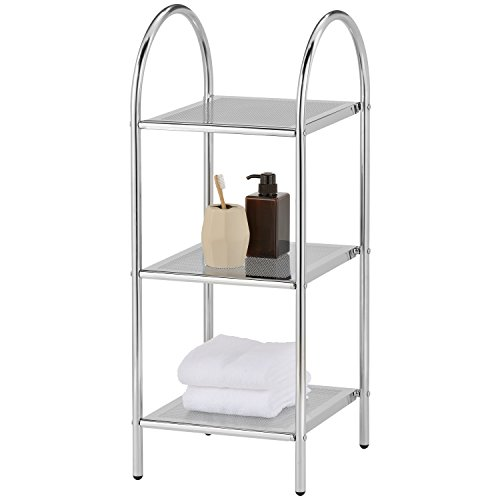 3 Tier Storage Tower - 3-Tier Deluxe Chrome-Plated Metal Storage Shelving Unit, Freestanding Home Organizer