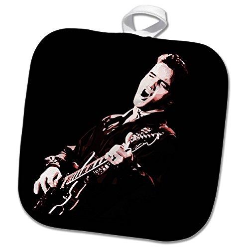 3dRose Elvis Presley with His Guitar. Potholder, 8 x 8
