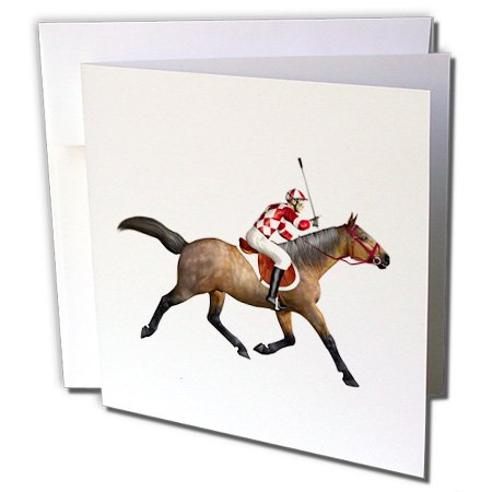 3dRose Boehm Graphics Sport - Racing Horse and Jockey from The Side - 12 Greeting Cards with envelopes (gc_234161_2) ()