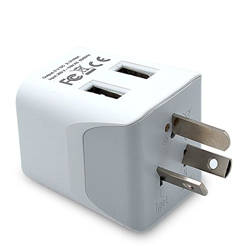 Ceptics CTU-16 USA to Australia, Zealand, China Travel Adapter Plug with Dual USB - Type I - Dual Inputs - Ultra Compact