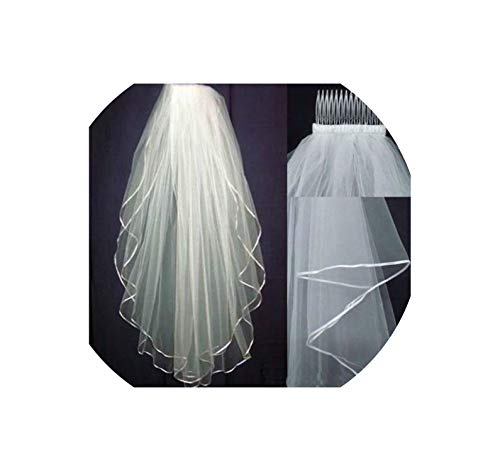 - Discount !! White Or Ivory 2 Layers Wedding Bridal Veil Elbow Length With Comb 2017,White,75Cm