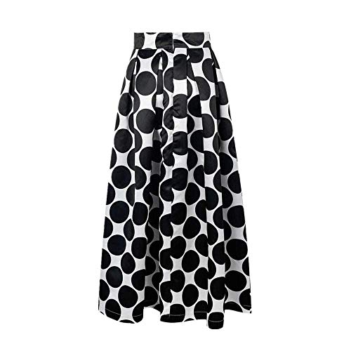 Kulywon Fashion Party Cocktail Summer Women Dot Printed Skirt High Waist Long Skirt Black ()