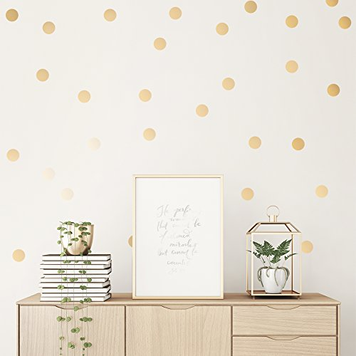 Easy Peel + Stick Gold Wall Decal Dots - 2 Inch (100 Decals) - Safe on Walls & Paint - Metallic Vinyl Polka Dot Decor - Round Circle Art Glitter Stickers - Large Paper Sheet Baby Nursery Room Set (Wall Glitter Wallpaper For)