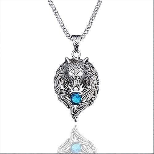 WLXW Alter Stammes-Ritter-Wolfskopfanhänger, Schillernder Aquamarin und Transparente Edelsteine, der Segen des Wolfsgottes - EIN Symbol des Heldentums