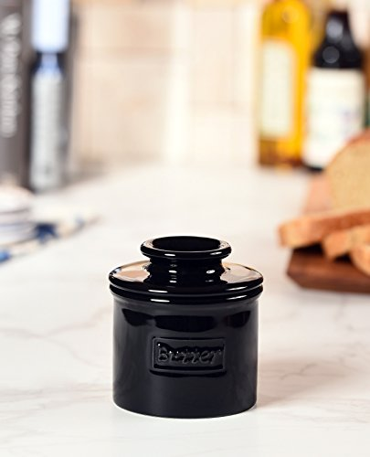 The Original Butter Bell Crock by L. Tremain, Café Retro Collection, Butter Keeper - Glossy Midnight Black by Butter Bell (Image #1)