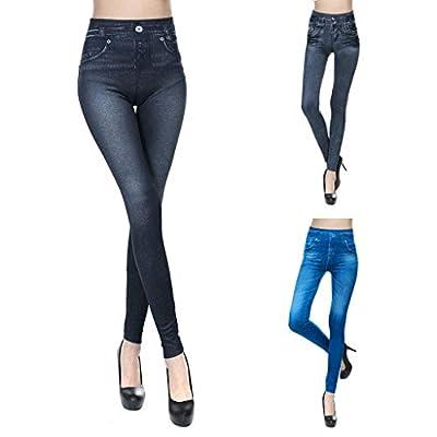 Excursion Clothing Women's Casual False Pocket Slim Imitation Denim Seamless Long Skinny Pants Trousers Leggings