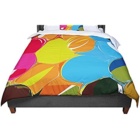 KESS InHouse Matthias Hennig Bubbles Rainbow Circles Queen Comforter 88 X 88