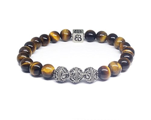 Tiger's Eye and Sterling Silver Bali Beads Bracelet, Men's Luxury (Sterling Silver Tiger Eye Bead)