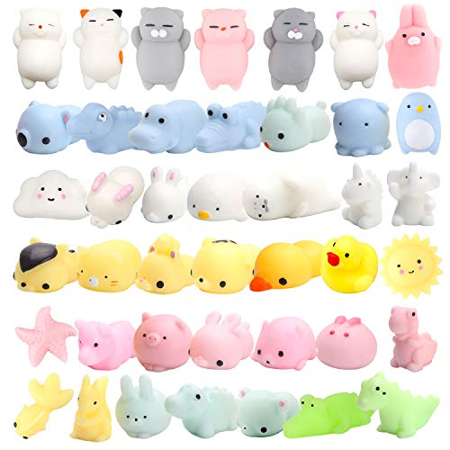 Cute Animal Mochi Squishy, Kawaii Mini Soft Squeeze Toy,Fidget Hand Toy for Kids Gift,Stress Relief,Decoration, 40 Pack ()